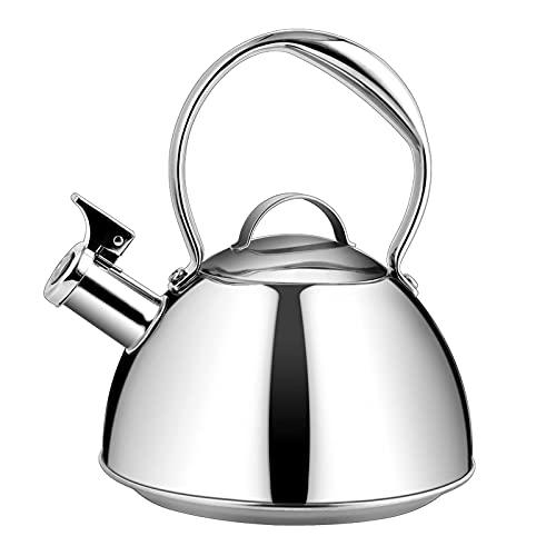 hervidor de té Ollas de té y café para Acampar, Silbato de Acero Inoxidable 304, Mango quirúrgico Puerto de inyección de Agua de Gran diámetro, Adecuado para Todo Tipo de Estufas (Color: Latón, Tama
