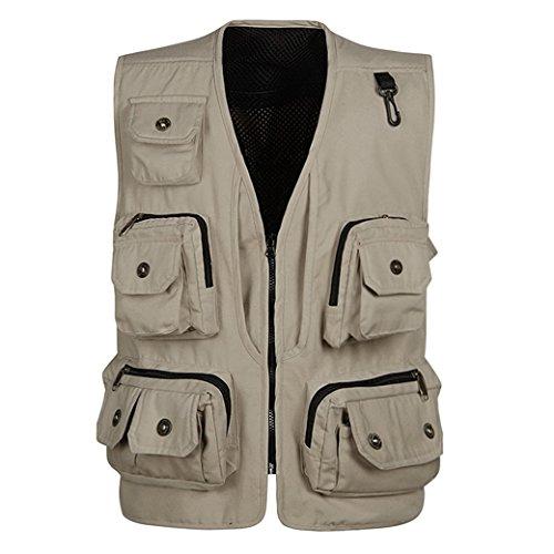 Panegy Hombres Chaleco Exterior de Algodón con Multibolsillos Posterior Removible Vest para Pesca Fotografía Beige - Talla L
