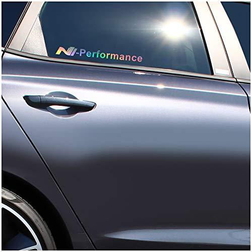Finest Folia 2er Set Aufkleber Logo N Performance Autoaufkleber Sticker Selbstklebend Waschstraßenfest Dekor Autoscheibe Seitlich Tuning Zubehör K091 (Hologramm, N Performance Full)