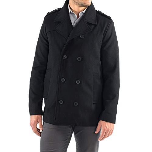Alpine Swiss Jake Mens Wool Pea Coat Double Breasted Jacket Black XL