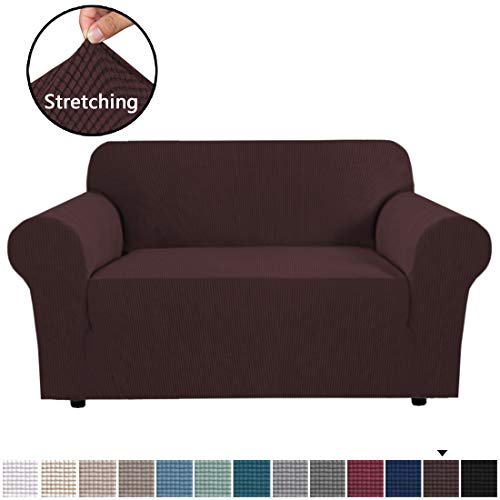 Stretch Couch Cover Loveseat Covers for 2 Cushion Couch Loveseat Slipcover|Sofa Cover for Loveseat 1 Piece with Elastic Bottom, Textured Checked Jacquard Fabric(Loveseat 58'-72' Wide, Chocolate)
