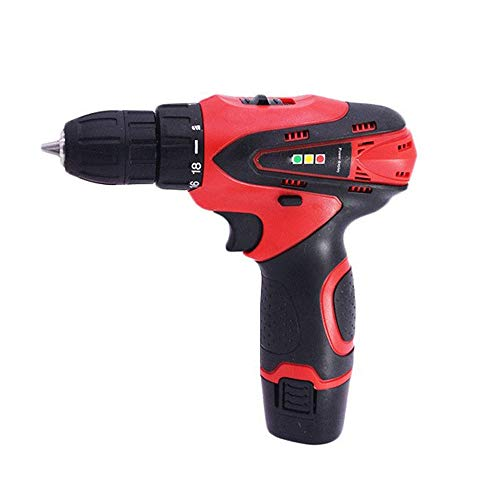 Sturdy Miniature Electric Screwdriver, Rechargeable Hand Drill, Multi-function Household Lithium Drill (Color : Red)
