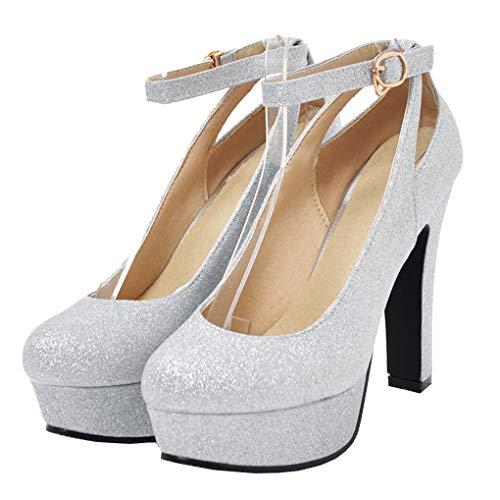 Femany Damen Glitzer High Heels Plateau Pumps mit Blockabsatz und Riemchen Pailletten 12cm Absatz Schuhe (Silber,39)