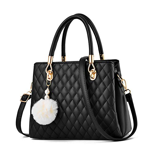 JHVYF Women Top Handle Satchel Handbags Shoulder Bag Tote Purse Messenger Bags with Fluffy Ball Black