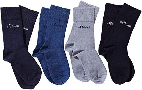 s.Oliver Jungen Socke 4 er Pack, S20205, Gr. 39-42, Mehrfarbig (30 blue, blue, stone, navy)