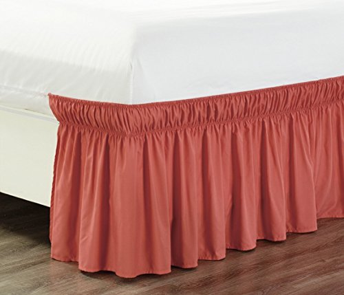 Wrap Around 21' inch Long Fall Coral Orange Ruffled Elastic Solid Bed Skirt Fits All Twin, Twin XL and Full Size Bedding High Thread Count Microfiber Dust Ruffle, Soft & Wrinkle Free.