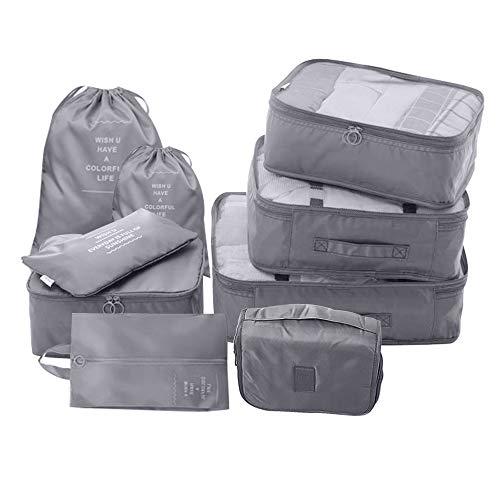 9 STKS Verpakking kubussen Value Set voor Reizen Bagage Reizen Opbergtas Organiser Tas voor Kleding Schoenen Ondergoed Cosmetica Grijs