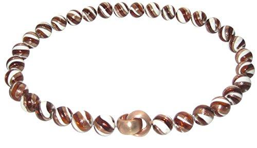 Murano-Kette Collier Perlen Handarbeit echtes Murano-Glas hochwertige Klapp-Schließe Sterling-Silber rhodiniert Goldschmiede-Arbeit Unikat