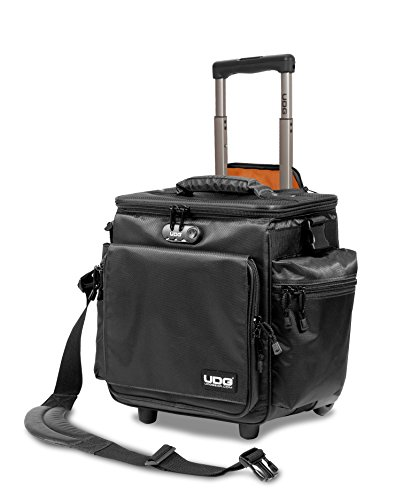 UDG U9981BL/OR Deluxe - Maletín con ruedas para dj (interior de color naranja), color negro