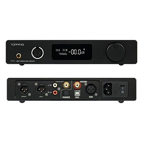 Topping DX7S 2ES9038Q2M 32Bit / 768K DSD512 DSD USB Amplificatore per cuffie DAC bilanciato completo (Nero)