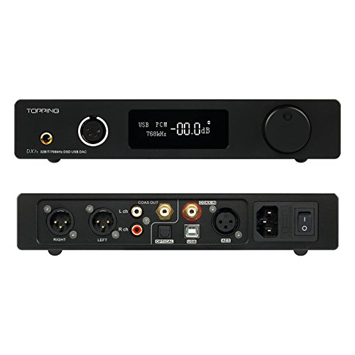Topping Full Balanced DAC Headphone Amplifier DX7S 2ES9038Q2M 32Bit/768K DSD512 DSD USB Full Balanced DAC Headphone Amplifier (Black)