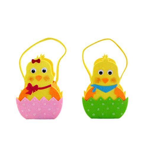 Amosfun Pasen Chick Ontwerp Tassen Leuke Pasen Mand Vilt Doek Tas voor Party Favors Snoepjes Chocolade (Random Kleur)