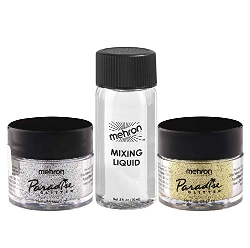 Mehron Makeup Paradise AQ Glitter with Mini Mixing Liquid (Silver & Gold)