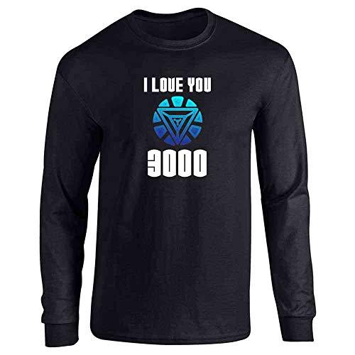 I Love You 3000 Gift for Dad Superhero Black XL Full Long Sleeve Tee T-Shirt