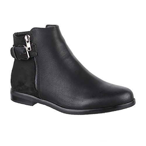 Elara Damen Stiefelette Chelsea Ankle Boots Chunkyrayan C503-Black-38