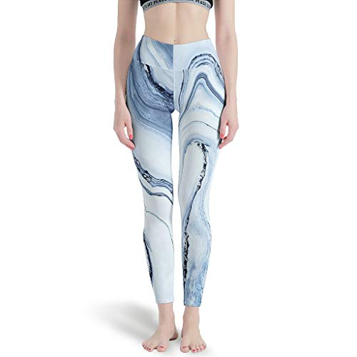 CATNEZA - Mármol deportivo para mujer, estampado a lo largo de toda la longitud – Pantalones de yoga para fitness, color blanco