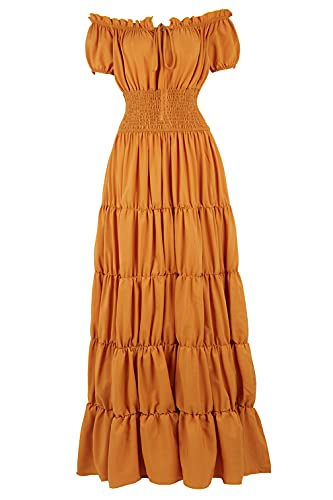 Haorugut Womens Renaissance Medieval Irish Costume Over Dress Smocked Waist Retro Gown Cosplay Ginger XS