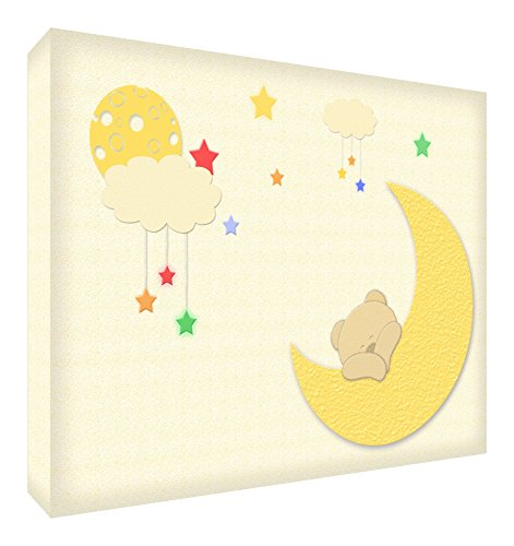 Feel Good Art BEARMOON-A6BLK-15DE Bloc décoratif en acrylique poli au diamant Motif ours et lune Multicolore 14,8 x 10,5 cm