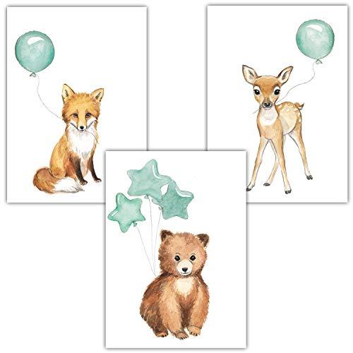 Frechdax® 3er Set Kinderzimmer Poster Baby Bilder DIN A4 | Waldtiere Safari Afrika Tiere Tierposter Luftballon Ballon Farbwahl (3er Set Mint, Bär, Fuchs, REH)