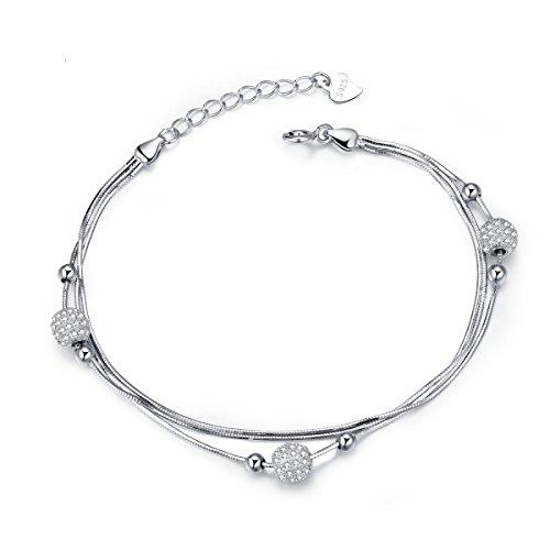 J. Vénus Sterling Bracciale in argento per le donne, con la bella scatola di gioielli, ideale regalo a San Valentino, compleanno (21,5 cm)