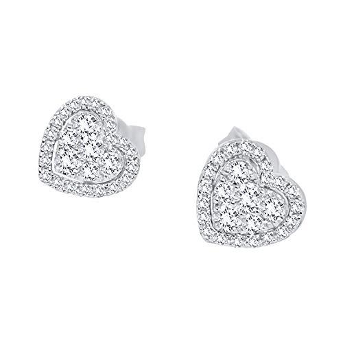Orecchini donna ragazza punto luce cuore oro bianco 18kt 750 con diamanti naturali 0,30ct f vvs