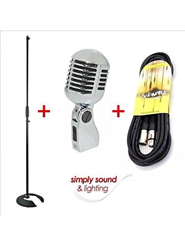 Retro de la vendimia de 1524 cm s de estilo de micrófono + soporte de micrófono y 6 m de Cable de