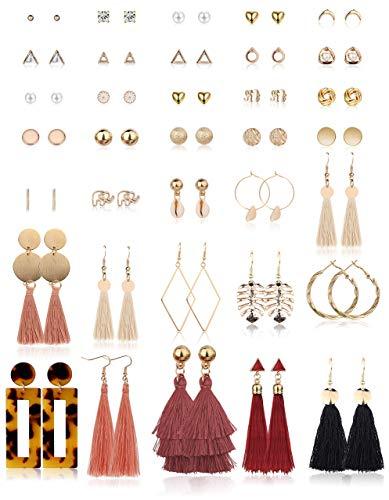 Milacolato 35 Paar Gold Ohrringe Set Damen Mädchen Perlen Ohrstecker Set Quasten Ethno Ohrringe Modeschmuck Pack
