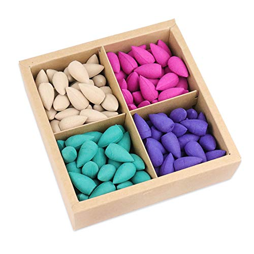 200 piezas de conos de incienso de reflujo 100% aromas naturales incienso de cascada lavanda rosa...