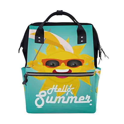 Hello Summer Funny Sun Sac à dos à langer pour maman femme Sac à langer multifonction Grand sac à dos de voyage école école école extérieur