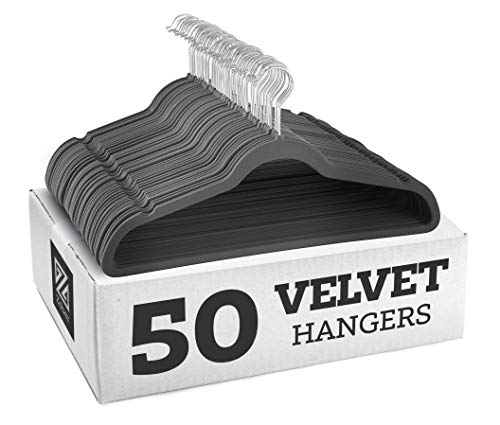 Zober Premium Quality Space Saving Velvet Hangers Strong and Durable Hold Up to 10 Lbs - 360 Degree Chrome Swivel Hook - Ultra Thin Non Slip Suit Hangers, Grey - 50 Pack