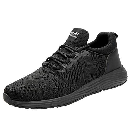 Zapatos de Seguridad para Hombre Trabajo con Punta de Acero, Zapatillas Deportivas al Aire Libre Moda Resistentes Deslizamiento Ligeras y Transpirables Suela Blanda Negro Yvelands(46)