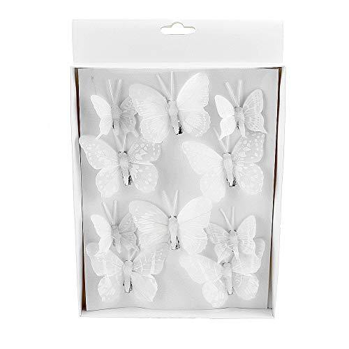 TGG 10 St. Schmetterlinge Mix mit Clip 2 Größen Sortiment / 043 weiß