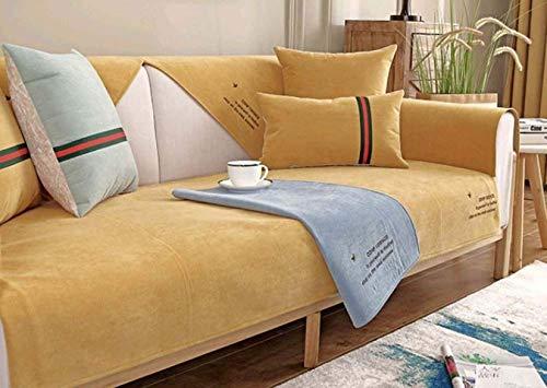 Funda de sofá Sillón de relajación completo, cojín de sofá todo incluido impermeable y a prueba de polvo, funda de sofá antideslizante de tela para verano y otoño, Yellow, 70*240cm(27*94inch)