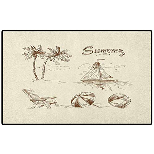 Beach Funny Doormat 47x35 Monochrome Tropical Elements Tree Boat Umbrella Wooden Chair Pattern Sketch Design Outdoor Area Rugs for Sofa/Living Room/Dining Room/Bedroom