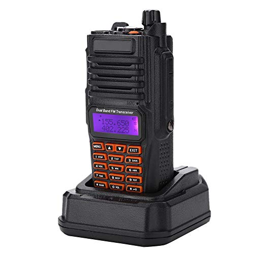 Annjom Función FM/VHF/UHF VOX Walkie Talkie portátil a Prueba de Agua, Walkie Talkie de Mano con Antena 100-240V para conexión inalámbrica VOX Walkie-Talkie