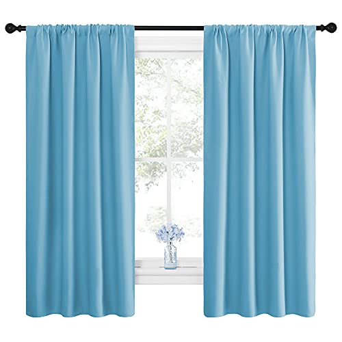 NICETOWN Kitchen Blackout Curtains Panels - Window Treatment Thermal Insulated Room Darkening Rod Pocket Drapes for Bedroom (Teal Blue, Set of 2, 42 by 63 inches Long)
