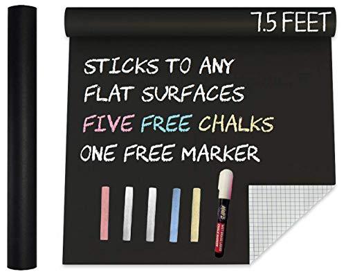 "Extra Large Black Matte Chalkboard Vinyl Adhesive Paper Wall Decal Poster (7.5 FEET) Blackboard Roll Paint Alternative w/ Chalks & Marker - Peel and Stick DIY Wallpaper Cricut Sizes 17.8"" X 90.5"""
