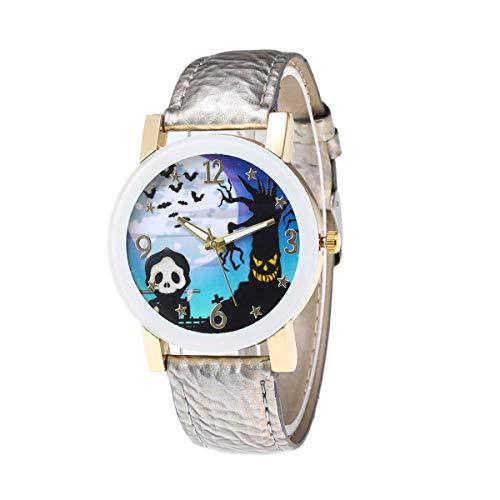 Balacoo Reloj de Cuarzo de Moda para Mujer Festival de Fantasmas Actividades Reloj de Pulsera Crculo Blanco Vidrio Ocio Reloj de Mujer Reloj temtico de Halloween Plata-Disfraz de Halloween
