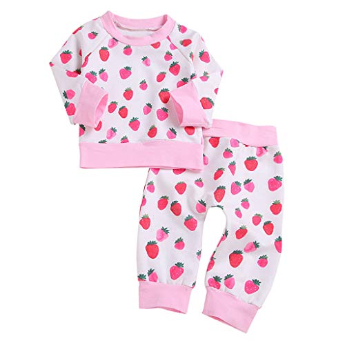 Transer Bébé Filles À Manches Longues Strawberry Print Pulls Tops + Strawberry Print Pantalon Long Outfit Set (18-24 Mois, Rose)