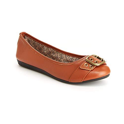 Harborsides Audrey Women Comfort Flats - Memory Foam Insole, Flex A Lite Outsole Cognac