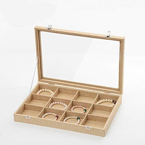 Manyao Storage Organiser Rack Hanging Jewelry Organizer Box Burlap Jewelry Storage Box Necklace Ring Pendant Display Box
