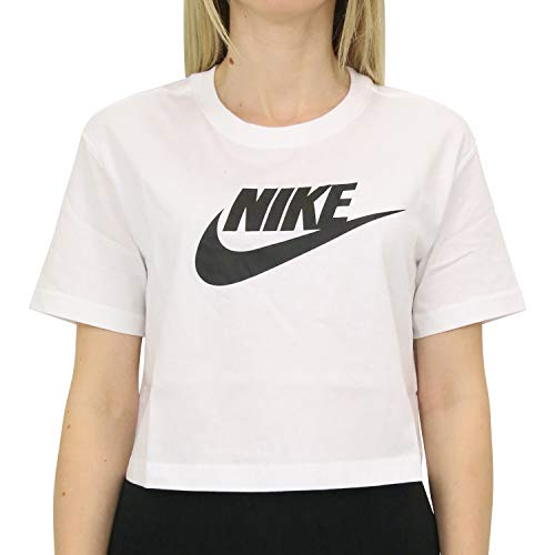 NIKE W NSW tee Essntl CRP ICN Ftra Camiseta, Mujer, Blanco (White/Black), M