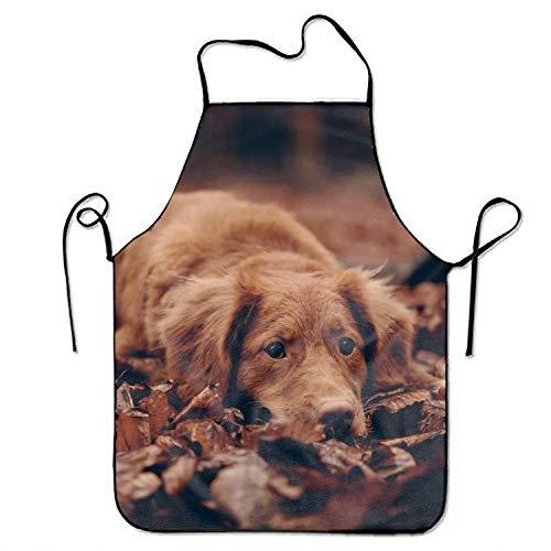 Delantales de cocina de perro marrón para mujeres y hombres con correa lateral ajustable para restaurante casero chef babero delantal para cocinar barbacoa parrilla