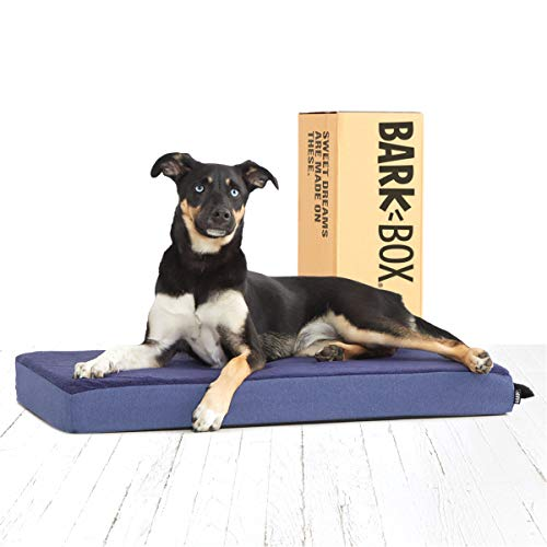 BarkBox Memory Foam Platform Dog Bed | Plush Mattress for Orthopedic Joint Relief | Machine Washable Cuddler with Removable Cover and Waterproof Lining | Includes Squeaker Toy | Blue | Medium