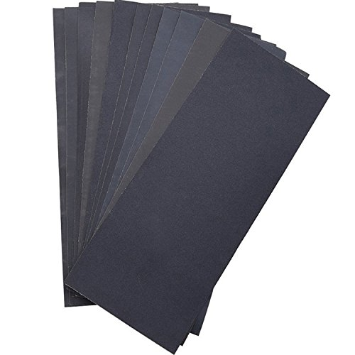 Abrasive Dry Wet Waterproof Sandpaper Sheets Assorted Grit of 400/600/ 800/1000/ 1200/1500 for Furniture, Hobbies and Home Improvement, 12 Sheets (9 x 3.6 Inch)