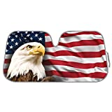 BDK Patriotic USA Eagle Flag Front Windshield Sunshade-Accordion Folding Auto Shade for Car Truck SUV-Blocks UV Rays Sun Visor Protector-Keeps Your Vehicle Cool-58 x 28 Inch