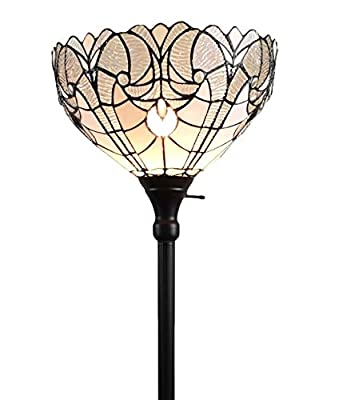 "Amora Lighting Tiffany Style Floor Lamp Torchiere 72"" Tall Stained Glass White Mahogany Antique Vintage Light Decor Bedroom Living Room Reading Gift AM266FL14B"