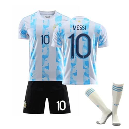 WYIILIN Camiseta de fútbol para niños 20-21 Argentina America's Cup Home No. 10 M.E.S.S.I Jersey para hombre y mujer, color blanco y azul