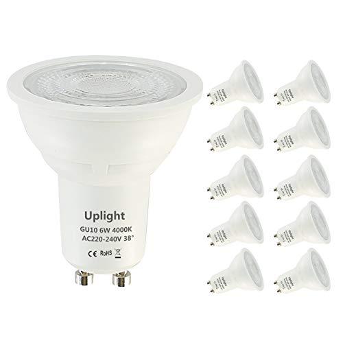 Uplight 6W Bombillas GU10 LED,Blanco Neutro 4000K,Equivalente 50W Lámpara Halógena 470Lm Ra80,38°Ángulo haz, Paquete de 10.