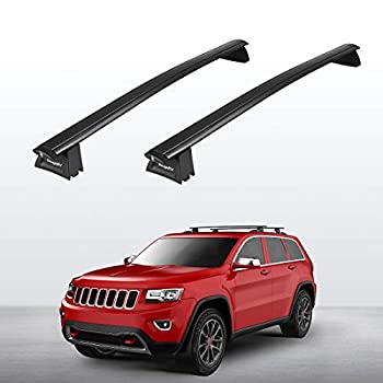 BougeRV Car Roof Rack Cross Bars for 2011-2021 Jeep Grand Cherokee with Side Rails Aluminum Cross Bar Replacement for Rooftop Cargo Carrier Bag Luggage Kayak Canoe Bike Snowboard Skiboard